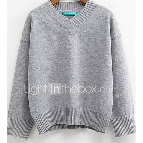 Dames Casual/Dagelijks Eenvoudig Normaal Pullover Effen-Blauw / Roze / Wit / Bruin / Grijs / Groen V-hals Lange mouw KatoenHerfst /