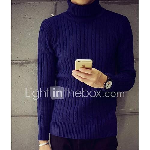heren-casual-dagelijks-eenvoudig-normaal-pullover-effen-meerkleurig-coltrui-lange-mouw-katoen-herfst-winter-medium-micro-elastisch