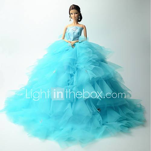 Wedding dresses for barbie doll sky blue solid patchwork for Barbie wedding dresses for sale