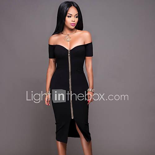 dames-casual-dagelijks-club-sexy-eenvoudig-bodycon-jurk-effen-boothals-midi-korte-mouw-zwart-grijs-polyester-zomer-herfst-medium