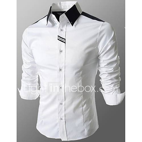 Men 39 s going out formal work simple cute street for White cotton work shirts