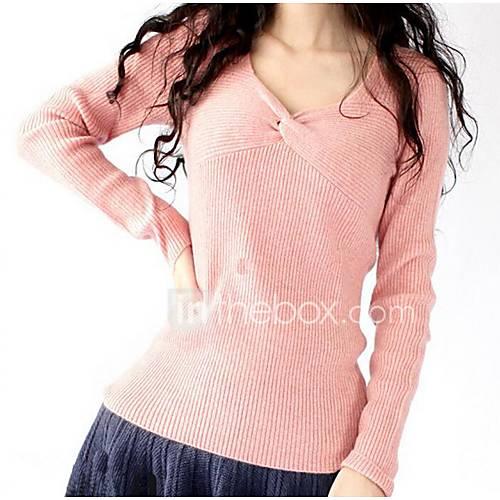 dames-casual-dagelijks-eenvoudig-normaal-pullover-effen-roze-wit-zwart-grijs-sweetheart-lange-mouw-polyester-lente-herfst-medium