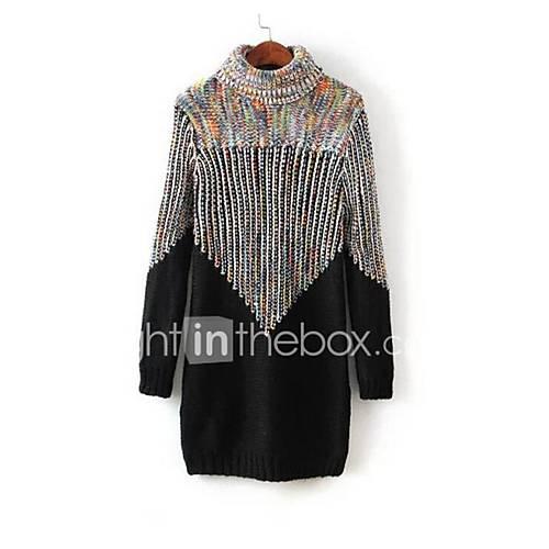 Dames Casual/Dagelijks Eenvoudig Lang Pullover Print-Beige / Zwart Coltrui Lange mouw Katoen Herfst / Winter Dik Micro-elastisch