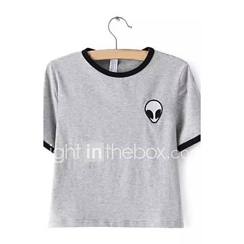 vrouwen-schattig-zomer-t-shirt-casual-dagelijks-gestreept-ronde-hals-korte-mouw-wit-katoen-medium