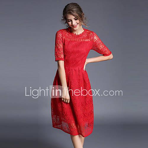 dames-uitgaan-vintage-verfijnd-schede-kant-jurk-geborduurd-ronde-hals-midi-halflange-mouw-rood-polyester-herfst-medium-taille