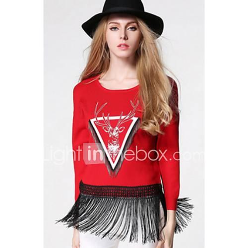 Dames Casual/Dagelijks Eenvoudig Normaal Pullover Bloemen-Rood / Zwart / Grijs V-hals Lange mouw Polyester Winter Medium Micro-elastisch