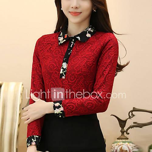 dames-uitgaan-eenvoudig-normaal-pullover-effen-rood-zwart-overhemdkraag-lange-mouw-polyester-winter-medium-micro-elastisch