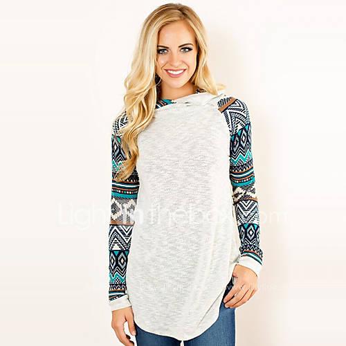 Dames Vintage / Street chic Lente / Herfst T-shirt,Casual/Dagelijks Print Capuchon Lange mouw Blauw Polyester Medium