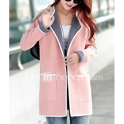 dames-eenvoudig-herfst-winter-jas-casual-dagelijks-ingesneden-revers-lange-mouw-roze-rood-grijs-effen-kleurenblok-dun-polyester