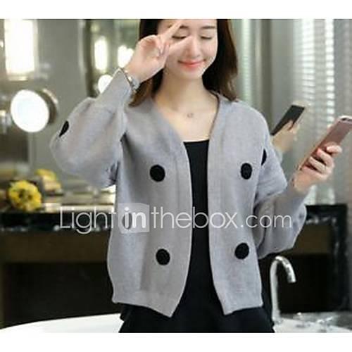 Dames Uitgaan / Casual/Dagelijks Eenvoudig Kort Vest Effen / Polka dot-Grijs V-hals Lange mouw Katoen Herfst Medium Micro-elastisch