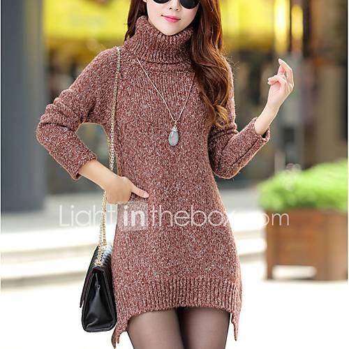 dames-casual-dagelijks-eenvoudig-street-chic-normaal-pullover-effen-rood-grijs-groen-coltrui-lange-mouw-polyester-herfst-winter-dik