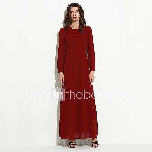 ronde-hals-katoen-polyester-geplooid-maxi-vrouwen-jurk-lange-mouw
