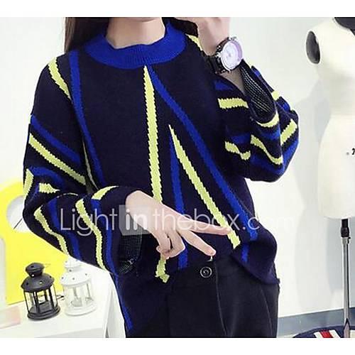 Dames Uitgaan / Casual/Dagelijks Eenvoudig Normaal Pullover Gestreept / Kleurenblok-Blauw Ronde hals Lange mouw Katoen Lente Medium