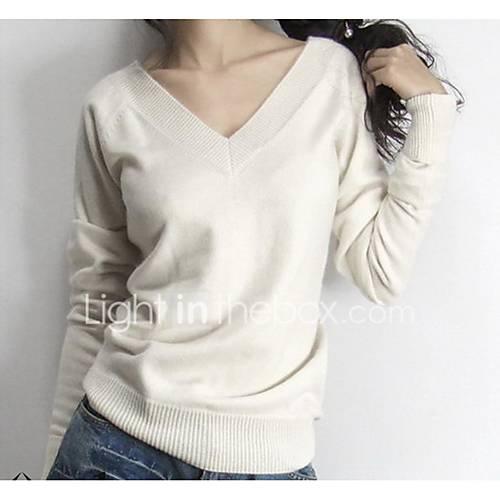 dames-uitgaan-casual-dagelijks-eenvoudig-actief-normaal-pullover-effen-blauw-wit-zwart-v-hals-lange-mouw-wol-herfst-winter-dik