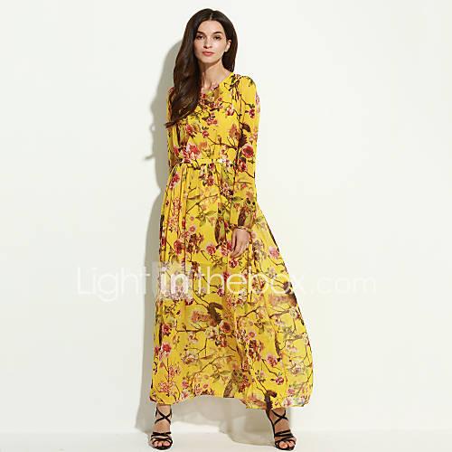 vrouwen-casual-wijd-uitlopend-bloemen-jurk-maxi-strakke-ronde-hals-polyester