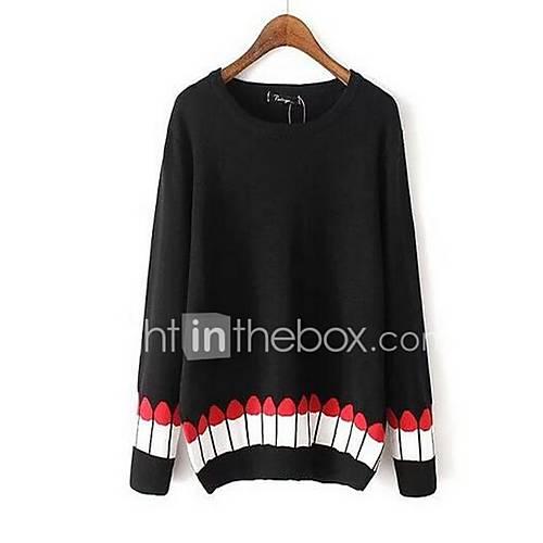 Dames Uitgaan Street chic Normaal Pullover Effen-Wit / Zwart Ronde hals Lange mouw Polyester Winter Medium Micro-elastisch