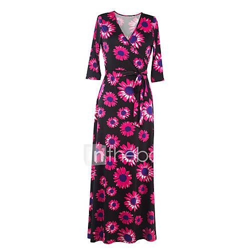 dames-casual-dagelijks-street-chic-schede-jurk-bloemen-v-hals-maxi-driekwart-mouw-roze-katoen-polyester-alle-seizoenen-medium-taille
