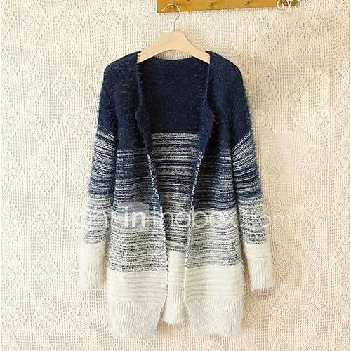 Dames Uitgaan / Casual/Dagelijks Eenvoudig Normaal Vest Print / Kleurenblok-Blauw / Zwart V-hals Lange mouw Imitatiebont Lente / Herfst