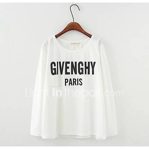 dames-eenvoudig-herfst-winter-t-shirt-uitgaan-casual-dagelijks-letter-ronde-hals-lange-mouw-wit-zwart-geel-polyester-medium