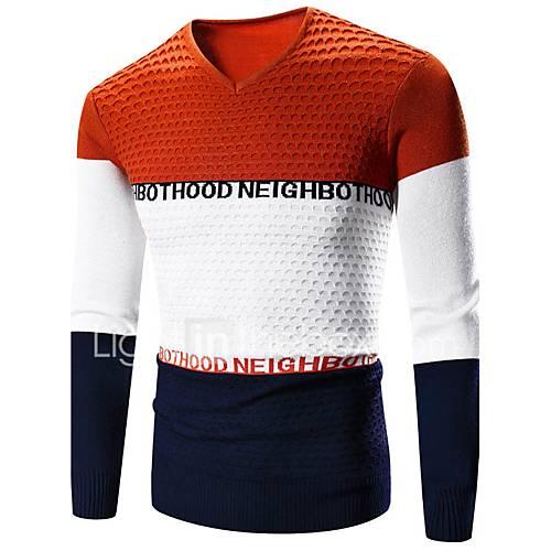 heren-casual-dagelijks-actief-normaal-pullover-effen-kleurenblok-rood-grijs-oranje-ronde-hals-lange-mouw-katoen-polyester-lente-medium