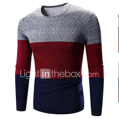 heren-casual-dagelijks-eenvoudig-normaal-pullover-kleurenblok-rood-ronde-hals-lange-mouw-polyester-lente-medium-micro-elastisch