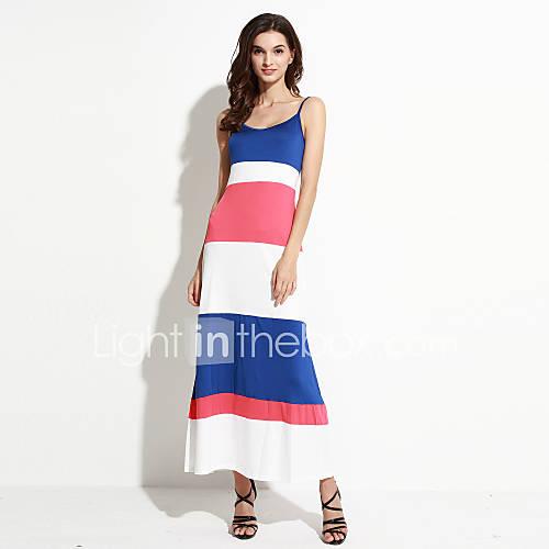 vrouwen-casual-dagelijks-street-chic-schede-jurk-gestreept-bandje-maxi-mouwloos-blauw-overige-zomer