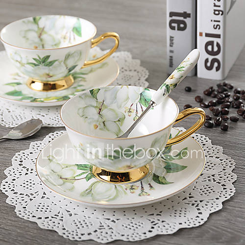 1 PC Noble Luxury Bone China Coffee Tea Cup And Saucer Spoon Set Ceramic Mug 200ml Advanced Porcelain Tray For Gift Cafe Party 3204
