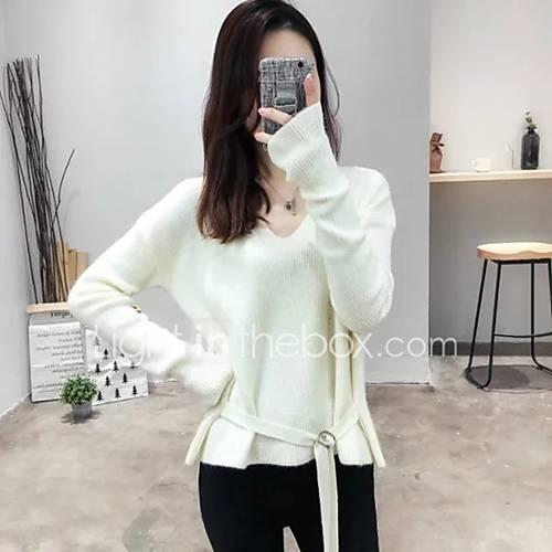 dames-uitgaan-casual-dagelijks-eenvoudig-schattig-normaal-pullover-effen-wit-zwart-bruin-geel-v-hals-lange-mouw-katoen-herfst-winter