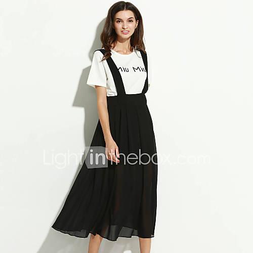 vrouwen-casual-dagelijks-grote-maten-eenvoudig-wijd-uitlopend-jurk-effen-ronde-hals-maxi-halflange-mouw-zwart-polyester-alle-seizoenen