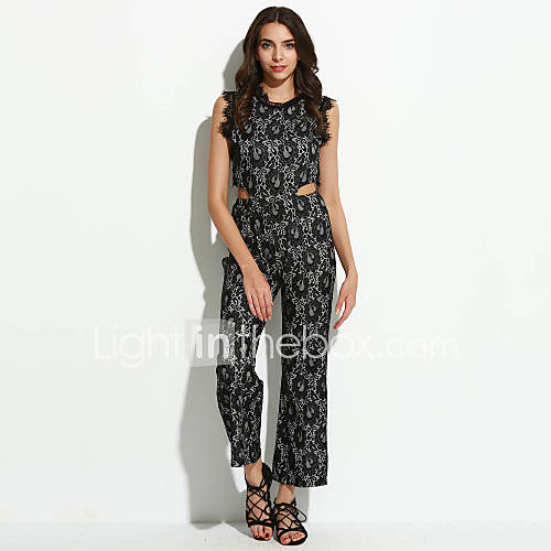 femme ample combinaison pantalon sexy sortie couleur pleine dentelle col arrondi sans manches. Black Bedroom Furniture Sets. Home Design Ideas