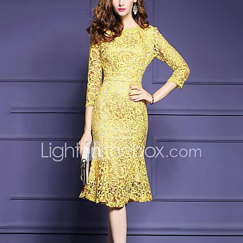 dames-casual-dagelijks-grote-maten-eenvoudig-bodycon-jurk-effen-ronde-hals-midi-driekwart-mouw-geel-polyester-alle-seizoenen-medium