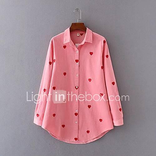 dames-eenvoudig-schattig-alle-seizoenen-overhemd-uitgaan-casual-dagelijks-geborduurd-overhemdkraag-lange-mouw-roze-rayon-polyester