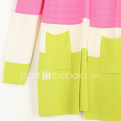 dames-uitgaan-casual-dagelijks-vakantie-schattig-street-chic-lang-vest-kleurenblok-roze-meerkleurig-v-hals-lange-mouw-katoen-herfst-dun