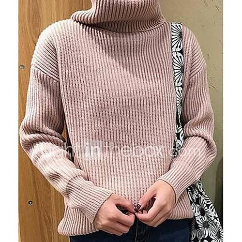 Dames Casual/Dagelijks Eenvoudig Normaal Pullover Effen-Blauw / Roze / Rood / Wit / Zwart / Bruin / Groen / Geel Coltrui Lange mouw Katoen