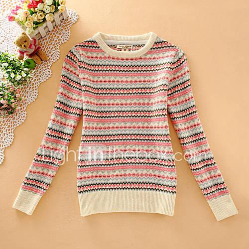 Dames Casual/Dagelijks Eenvoudig Kort Pullover Gestreept-Rood / Beige Ronde hals Lange mouw Wol Herfst Medium Micro-elastisch