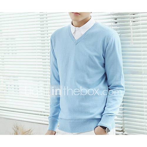 heren-uitgaan-vintage-eenvoudig-normaal-pullover-effen-wit-ronde-hals-lange-mouw-katoen-lente-medium-micro-elastisch