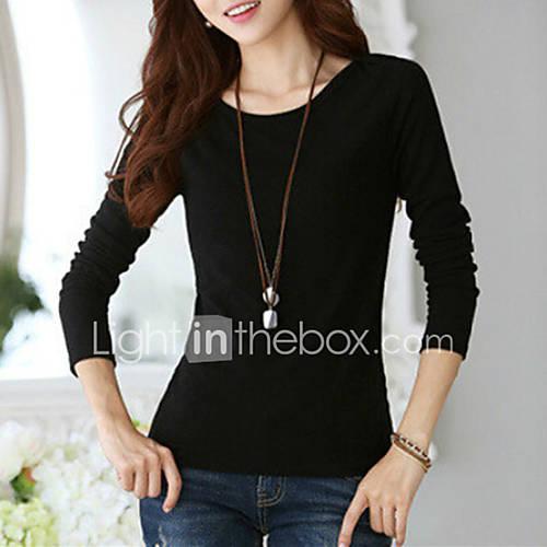 dames-street-chic-lente-herfst-t-shirt-uitgaan-casual-dagelijks-grote-maten-effen-ronde-hals-lange-mouw-wit-zwart-katoen-spandex