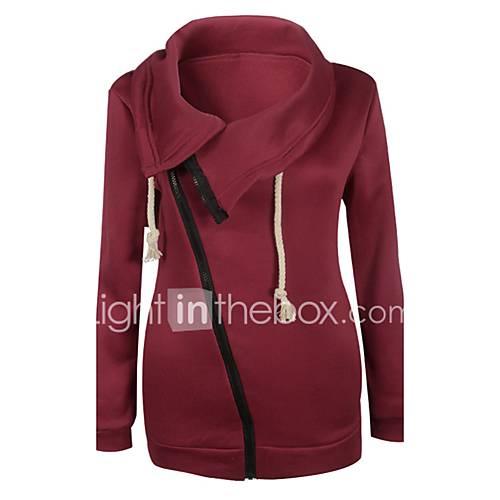 dames-actief-eenvoudig-casual-dagelijks-hoodie-jacket-effen-micro-elastisch-polyester-lange-mouw-lente-herfst