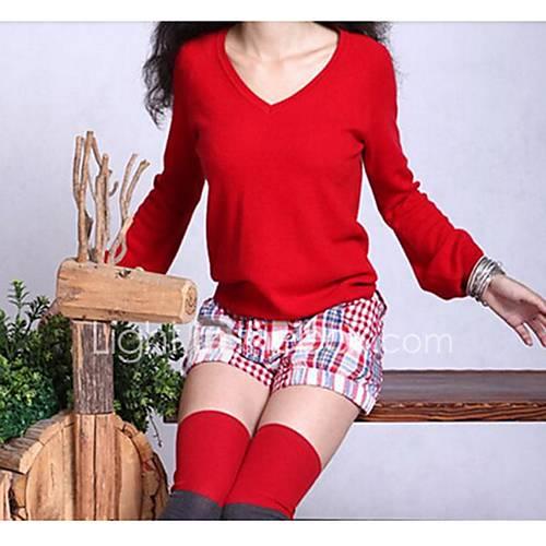 dames-casual-dagelijks-eenvoudig-normaal-pullover-effen-rood-zwart-bruin-grijs-v-hals-lange-mouw-katoen-polyester-herfst-winter-medium