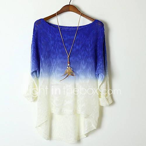 dames-casual-dagelijks-eenvoudig-kort-pullover-kleurenblok-blauw-roze-groen-ronde-hals-lange-mouw-katoen-herfst-medium-micro-elastisch