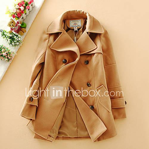 dames-eenvoudig-herfst-jas-casual-dagelijks-overhemdkraag-lange-mouw-blauw-bruin-meerkleurig-effen-medium-wol