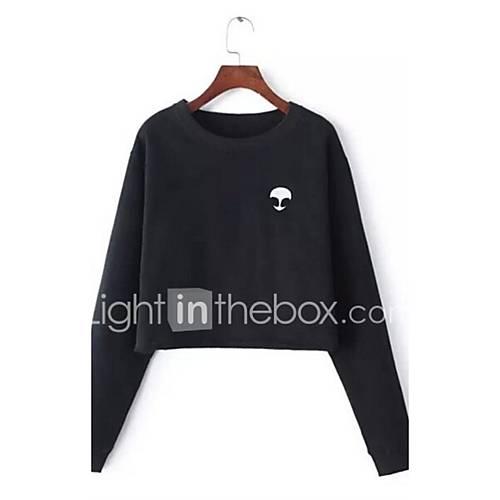Dames Eenvoudig Herfst / Winter T-shirt,Casual/Dagelijks Effen Ronde hals Lange mouw Zwart / Grijs Polyester Medium