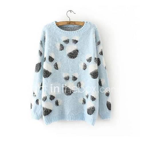 Dames Casual/Dagelijks Schattig Normaal Pullover Print-Meerkleurig Ronde hals Lange mouw Overige Herfst Medium Micro-elastisch