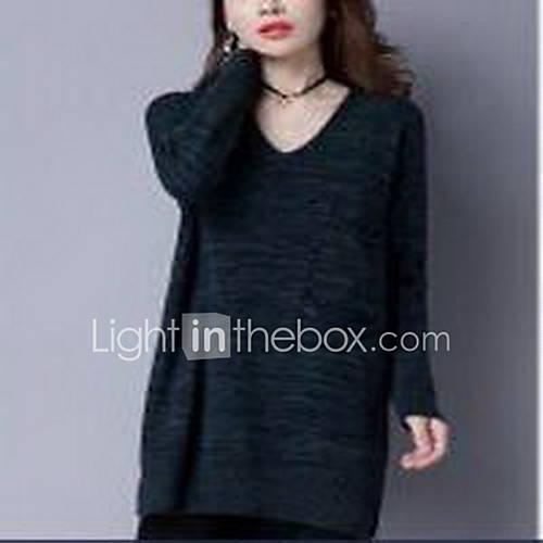 Dames Casual/Dagelijks Eenvoudig Normaal Pullover Effen-Groen V-hals Lange mouw Wol Winter Medium Micro-elastisch