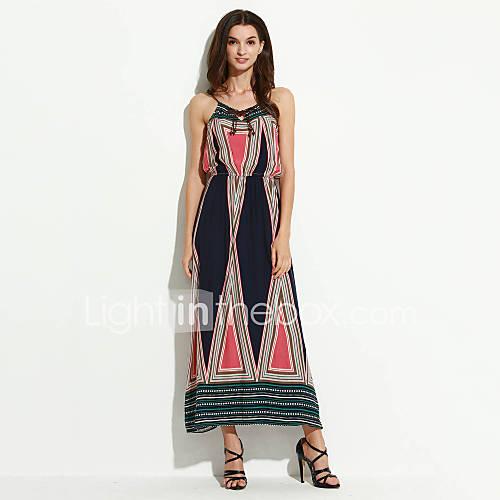 vrouwen-strand-boho-ruimvallend-jurk-kleurenblok-bandje-maxi-mouwloos-blauw-katoen-zomer