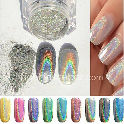 1g box colorful new rainbow shinning mirror nail glitter for Vernis a ongle miroir