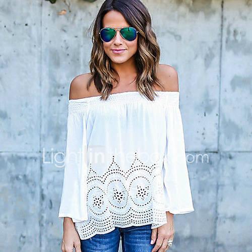 dames-sexy-street-chic-lente-herfst-t-shirt-uitgaan-casual-dagelijks-effen-boothals-lange-mouw-blauw-wit-polyester-medium