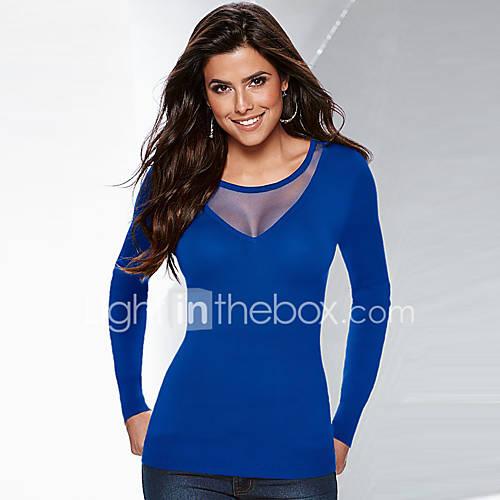 dames-eenvoudig-herfst-winter-t-shirt-casual-dagelijks-effen-ronde-hals-lange-mouw-blauw-zwart-polyester-medium