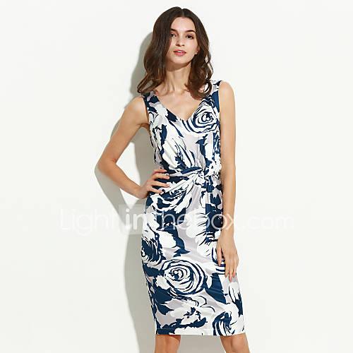 vrouwen-eenvoudig-schede-bloemen-jurk-tot-de-knie-v-hals-katoen-polyester