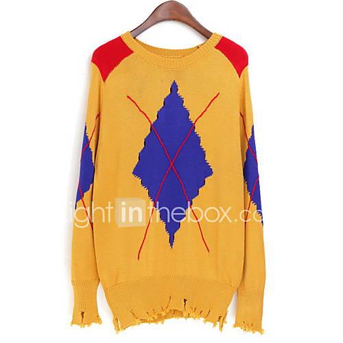 Dames Uitgaan / Casual/Dagelijks Vintage / Street chic Normaal Pullover Geometrisch-Wit Ronde hals Lange mouw Acryl Lente / Herfst Medium